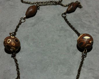 Vintage bird couple necklace, Pearl polymer clay