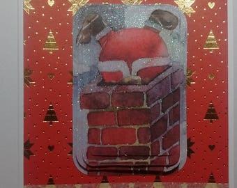 Card Santa Claus in chimney, 3D