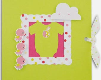 3D birth announcement + envelope, pattern green and pink baby girl.