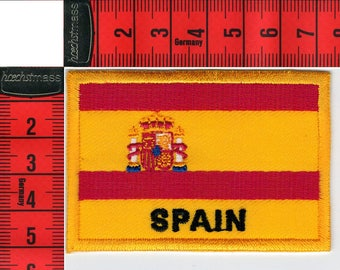 Shield Spain flag embroidered iron or sew 7 x 5cm. Patch applique