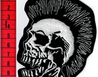 Skull Punk embroidered patch iron or sew on Patch Applique