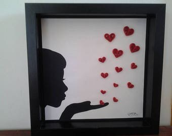 heart shaped table quilling sending kisses