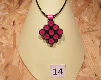 Pink and black diamond pendant