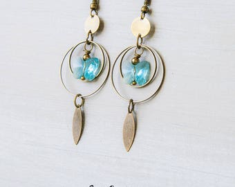 Bohemian turquoise Crystal and brass butterfly earrings