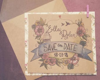 """Romantic country """"Save the Date"""" example"""