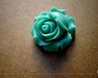 1 large green resin Rose flower Cabochon of water