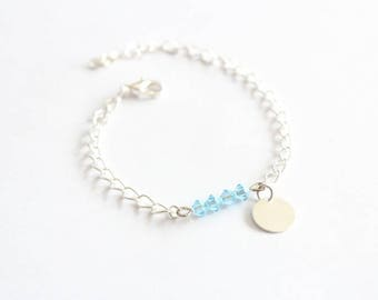 Blue Bicone Swarovski bracelet and silver chain