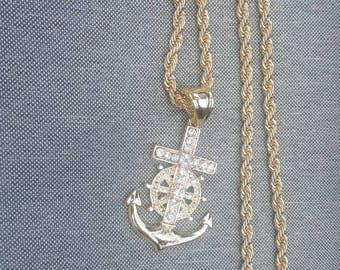 Crucifix Anchor Gold Pendant Chain