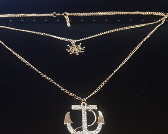 Double Chain Anchor and Wheel Necklace