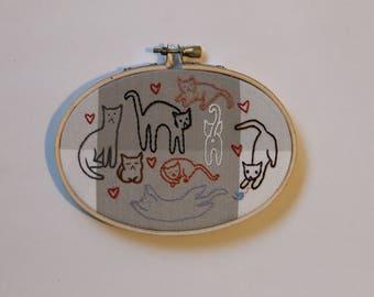Cat Appreciation Embroidery Hoop Art