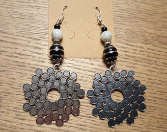 hook and bead earrings in silver, black and silver beads, marbled white amazonite