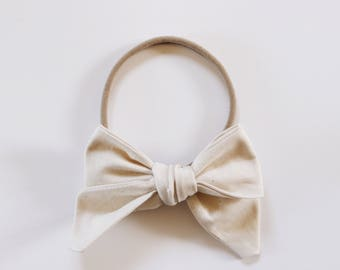 Neutral Fabric Bow Headband OR Clip