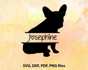 Split french bulldog SVG, Dog name frame svg, pdf, eps files for cutting in silhouette, Cricut, pet monogram svg file, Personalised dog svg