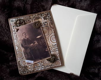 Steampunk style masculine card