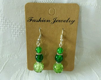 Earrings trio of green beads - D03