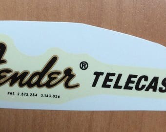 Fender telecaster guitar decals gold waterslide. 1970s