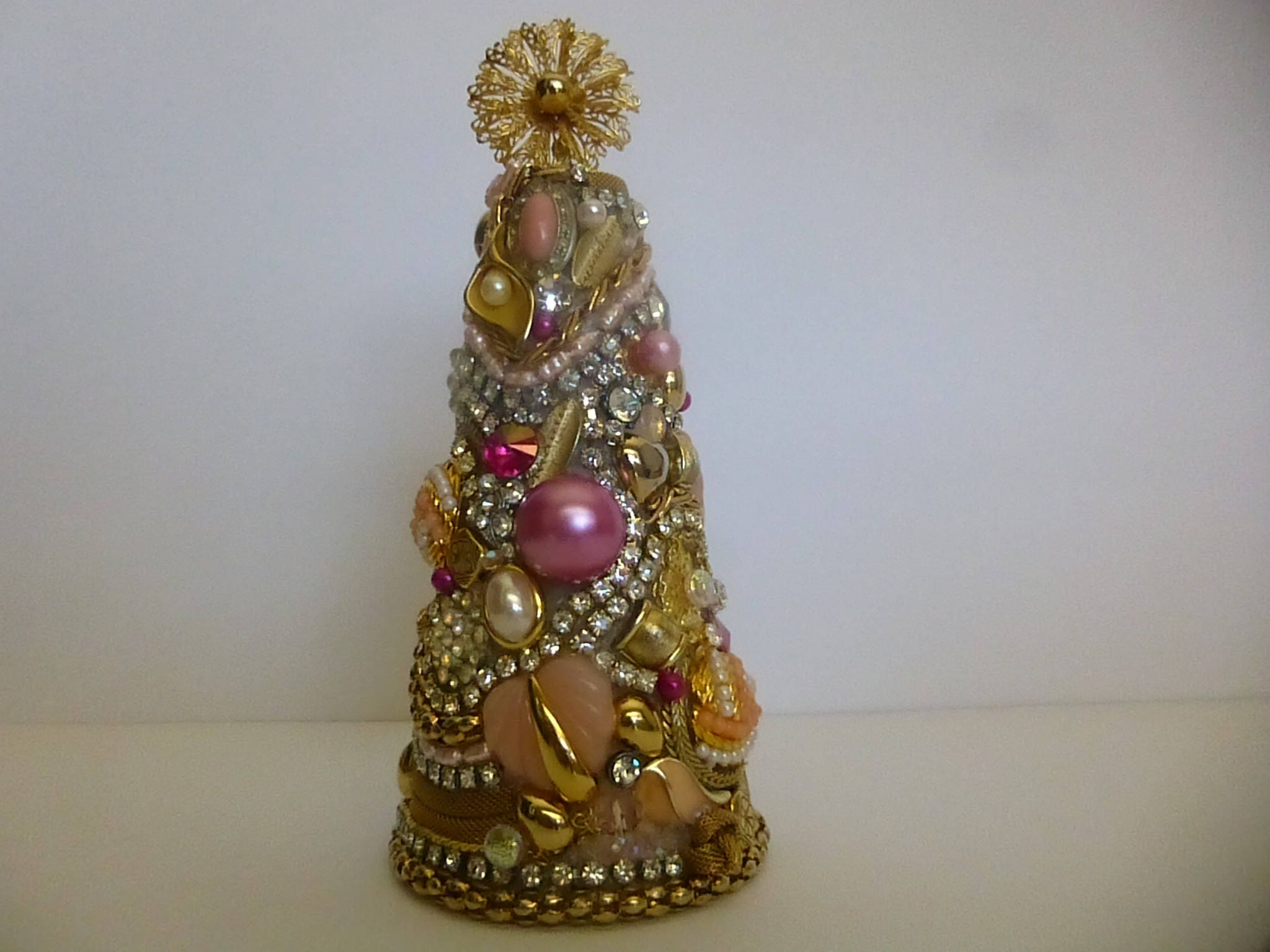 Jeweled Christmas tree pink and gold Christmas tree upcycle
