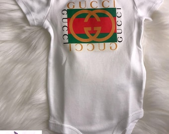 Yellow Gucci Green and Red Stripes Onesie Babyshower Gift | First Birthday | Onesie for Boys | Onesie for Girls | Designer Inspired