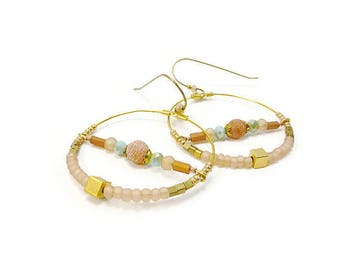Pastel peach and gold hoop