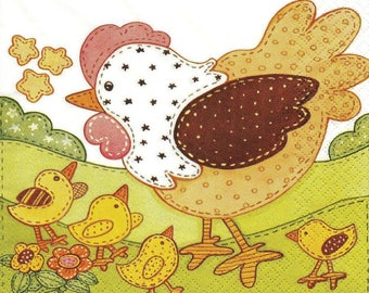 141 the hen and her chicks 1 lunch size paper towel