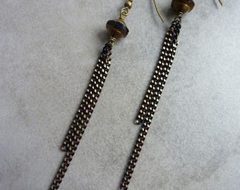 Long black SNAKE earrings