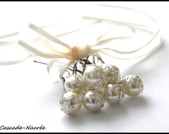 7 spikes silver ivory bridal leaf Pearl wedding hair jewelry