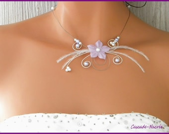 Flower purple violet Ines Silver White Pearl wedding bridal necklace