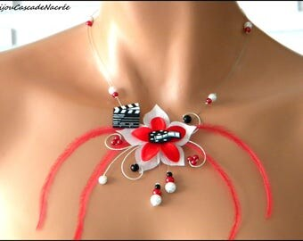 Cinema white red flowers silk feather bridal Pearl wedding movie clap necklace