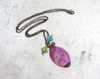 Pink and copper Necklace by Little Valentine