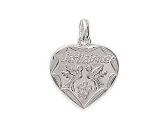 Heart pendant love bird engraved personalize sterling silver