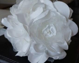 Satin and organza flower bridal bouquet