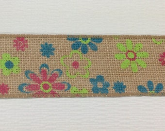 "FREE SHIPPING- 2.5"" Wired Natural Floral Burlap Ribbon - 5 Yards"