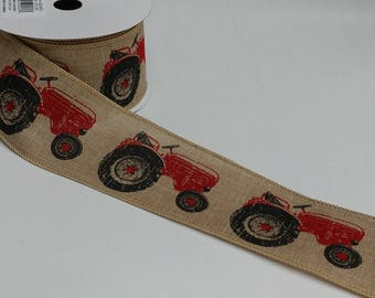 "FREE SHIPPING- 2.5"" Wired Natural Linen Red and Black Tractor Ribbon - Farmall Inspired Ribbon - 5 Yards"