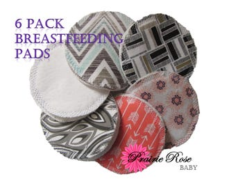 Six Pack,Bamboo,Reusable Breastfeeding Pads,Assorted,Nursing Pads,Washable Pads,Nursing,Baby Shower Gift,breastfeeding,Mom Cloth, Cotton
