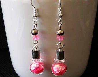 """""""Neon pink vial"""" earrings 5.5 cm"""