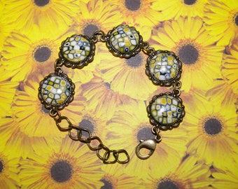 Bracelet 5 yellow mosaic polymer clay