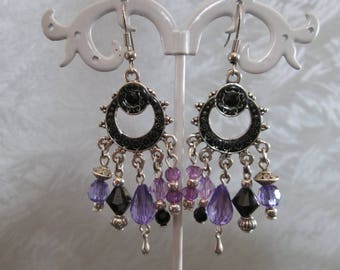 earrings to pendants / charms, black and purple