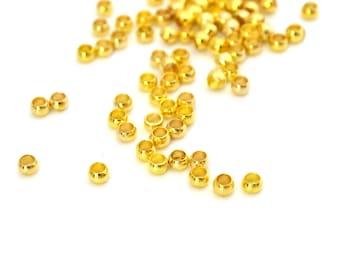 50 crimps Gold 2mm internal diameter metal
