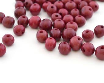 10 purple round beads 6-10mm Acai seeds