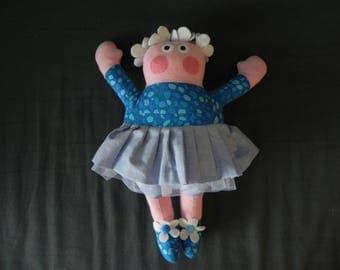 Doll dancer blue hair flowers