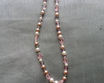 Pink and Brown Tree Necklace