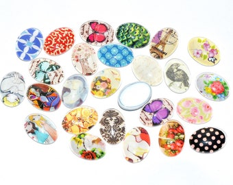 Set of 20 illustrated, glass Cabochons - various - oval (18x13mm) - color Vintage patterns - CABVILL15COL052-2