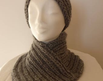 Scarf neck grey pure wool