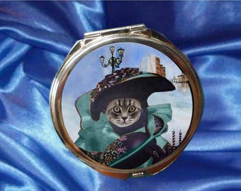 Large Pocket mirror with cat: a beautiful Venetian