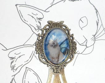 Bookmark cabochon with cat: cat-Butterfly