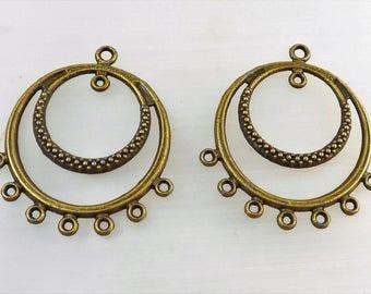 2 pendants, MULTISTRAND bronze connectors
