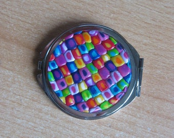 Pocket mirror decorated with millefiori polymer clay