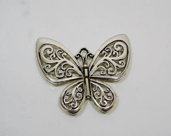 Butterfly pendant silver 56.00 mm in length.
