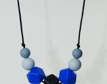 Teething necklace Royal Blue silicone beads