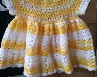 Handmade crochet baby dress (3-6 months)